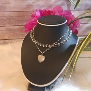 Jewelry - American Eagle 925 layered heart bead necklace